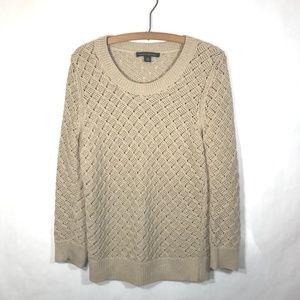 Banana Republic Open Knit Sweater Size M Tan Beige